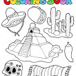 Coloring book with Mexican theme 1 - Stock Vector