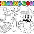 Coloring book with Mexican theme 2 — Stock Vector