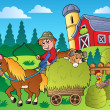 Country scene with red barn 9 — Imagen vectorial