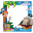 Frame with sea and pirate theme 3 — Stock Vector