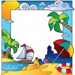 Stock Vector: Frame with summertime theme 1