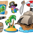 Set of various pirate objects - Stock Vector