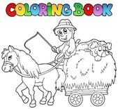 Coloring book with cart and farmer — Stock Vector