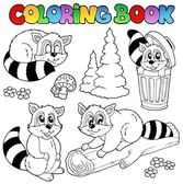 Coloring book with cute racoons — Stock Vector