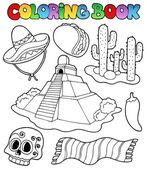 Coloring book with Mexican theme 1 — Stock Vector