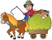 Hay cart with cartoon farmer — Stock Vector