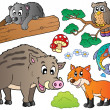 Royalty-Free Stock Vector Image: Forest cartoon animals set 1