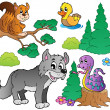 Forest cartoon animals set 2 — Stok Vektör