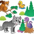 Forest cartoon animals set 2 — ストックベクタ