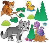 Forest cartoon animals set 2 — Stock Vector