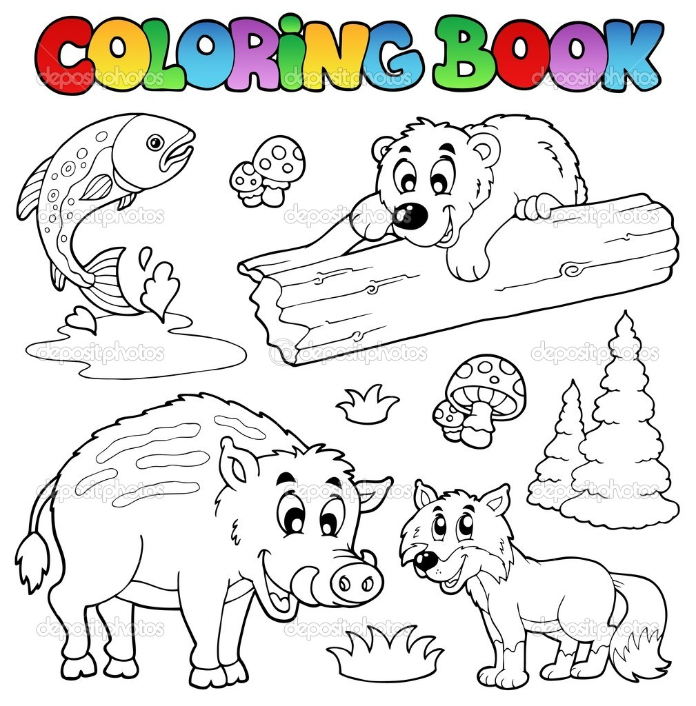 Coloring book with woodland animals - vector illustration. — Stock Vector #5955564