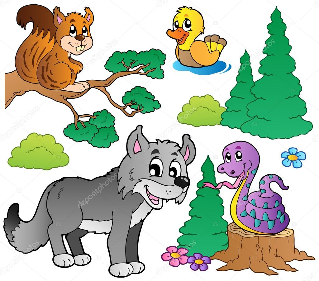 Forest cartoon animals set 2 - vector illustration.  Stock Vector #5955576