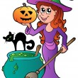 Cartoon Halloween witch with cat — Stock Vector