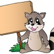 Cartoon racoon holding wooden board — Stock Vector