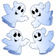 Stock Vector: Four cute ghosts