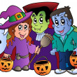 Vector de stock : Halloween trick or treat characters