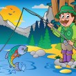 Lake with cartoon fisherman 1 - Stock Vector