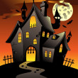 Stock Vector: Scene with Halloween mansion 1