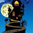 Stock Vector: Scene with Halloween mansion 2