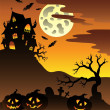 Stock Vector: Scene with Halloween mansion 3