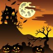 Scene with Halloween mansion 3 - Stock Vector