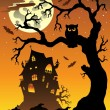Scene with Halloween mansion 6 - Stock Vector