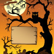 Stock Vector: Scene with Halloween tree 1