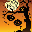Stock Vector: Scene with Halloween tree 2