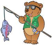 Cartoon bear fisherman — Stock Vector
