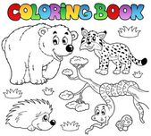 Coloring book with forest animals 3 — Stock Vector