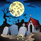 Halloween scenery with cemetery 1 — Stock Vector