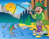 Lake with cartoon fisherman 1 — Stock Vector