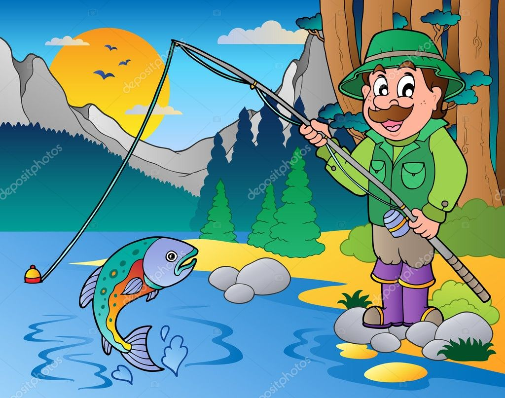 мужик на рыбалке рисунок