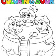 Royalty-Free Stock Vector Image: Coloring book with kids in pool