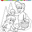 Royalty-Free Stock Vector Image: Coloring book with kids mushrooming