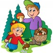 Kids picking up mushrooms - Stock Vector