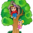 Tree with two cartoon kids - Stock Vector