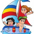 Yacht with three kids - Stock Vector
