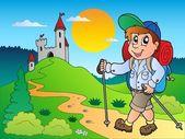 Niño excursionista historieta cerca del castillo — Vector de stock