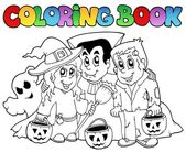 Coloring book Halloween topic 3 — Stock Vector