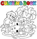 Coloring book with summer theme 1 — Cтоковый вектор