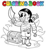 Coloring book with young pirate — Stock Vector