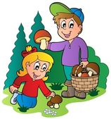 Kids picking up mushrooms — Stock Vector