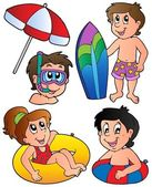 Swimming kids collection — Stock Vector