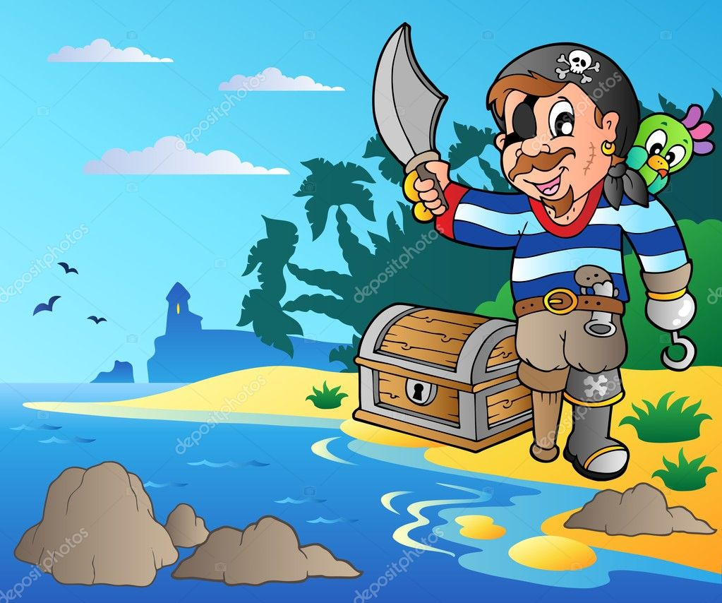 Coast with young cartoon pirate 2 - vector illustration. — Stock Vector #6224721