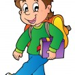 Cartoon boy walking to school - Stock Vector