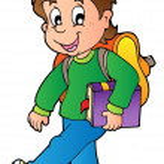 Cartoon boy walking to school — Stock Vector