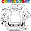 coloring book computer and kids — Stock Vector