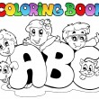 Coloring book school ABC letters — Stock Vector