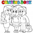 Stock Vector: Coloring book school cartoons 6